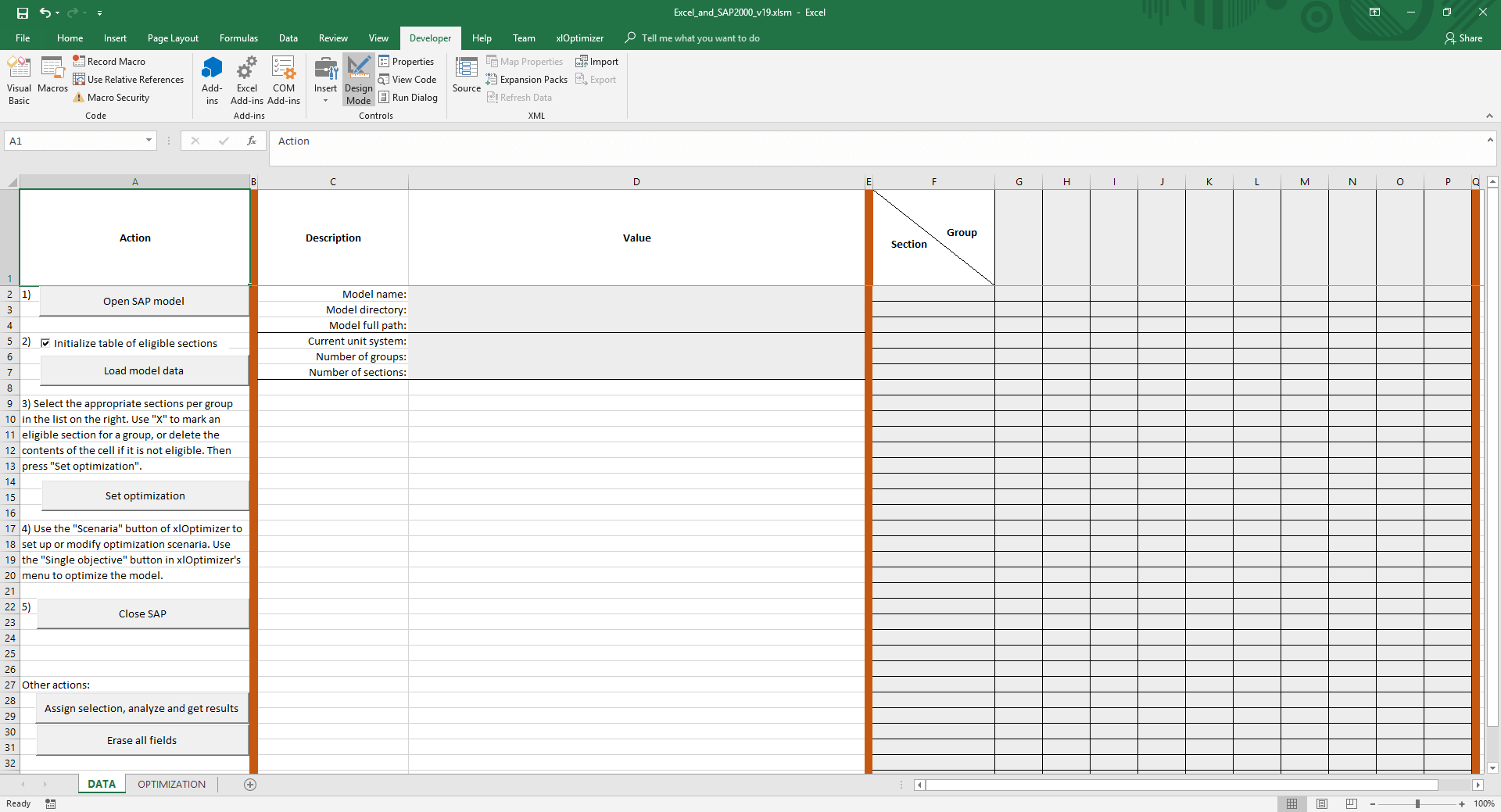 Spreadsheet for linking Microsoft Excel and SAP2000