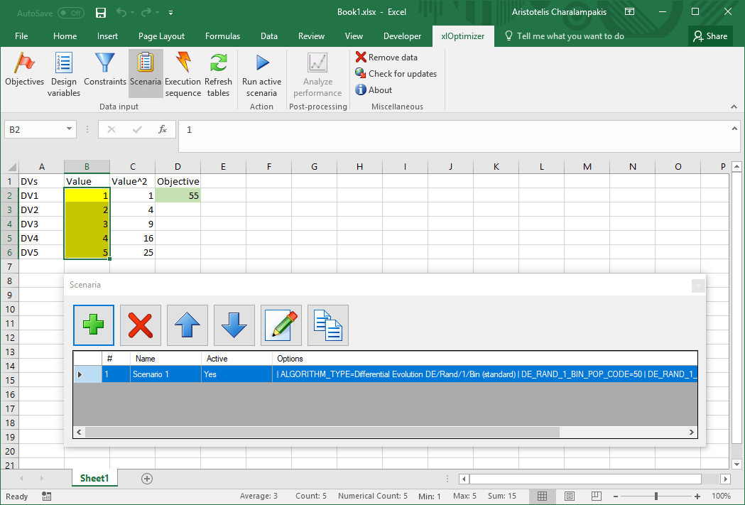 Microsoft Excel Sphere Function spreadsheet with xlOptimizer #5