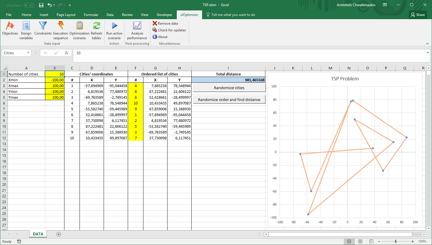 Initial Microsoft Excel window with TSP